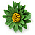 Grass Green/ Yellow Leather Layered Daisy Flower Ring - 40mm D - Adjustable - view 7