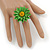 Grass Green/ Yellow Leather Layered Daisy Flower Ring - 40mm D - Adjustable - view 2