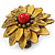 Antique Yellow Leather Layered With Glass Bead Daisy Flower Wire Band Ring - Adjustable - 40mm D - view 5