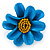 Light Blue/ Yellow Leather Daisy Flower Ring - 35mm D - Adjustable - view 4