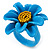 Light Blue/ Yellow Leather Daisy Flower Ring - 35mm D - Adjustable - view 6