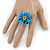 Light Blue/ Yellow Leather Daisy Flower Ring - 35mm D - Adjustable - view 2