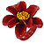Dark Red/ Yellow Leather Daisy Flower Ring - 35mm D - Adjustable