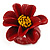 Dark Red/ Yellow Leather Daisy Flower Ring - 35mm D - Adjustable - view 6