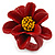 Dark Red/ Yellow Leather Daisy Flower Ring - 35mm D - Adjustable - view 7