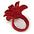 Dark Red/ Yellow Leather Daisy Flower Ring - 35mm D - Adjustable - view 8