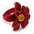Dark Red/ Yellow Leather Daisy Flower Ring - 35mm D - Adjustable - view 4