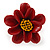 Dark Red/ Yellow Leather Daisy Flower Ring - 35mm D - Adjustable - view 5