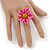 Pink/ Yellow Leather Daisy Flower Ring - 35mm D - Adjustable - view 2