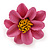 Pink/ Yellow Leather Daisy Flower Ring - 35mm D - Adjustable - view 6