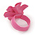 Pink/ Yellow Leather Daisy Flower Ring - 35mm D - Adjustable - view 4