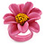 Pink/ Yellow Leather Daisy Flower Ring - 35mm D - Adjustable - view 5