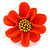 Bright Orange/ Yellow Leather Daisy Flower Ring - 35mm D - Adjustable - view 3