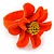 Bright Orange/ Yellow Leather Daisy Flower Ring - 35mm D - Adjustable - view 7