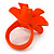 Bright Orange/ Yellow Leather Daisy Flower Ring - 35mm D - Adjustable - view 6
