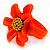 Bright Orange/ Yellow Leather Daisy Flower Ring - 35mm D - Adjustable - view 8