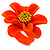 Bright Orange/ Yellow Leather Daisy Flower Ring - 35mm D - Adjustable
