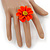 Bright Orange/ Yellow Leather Daisy Flower Ring - 35mm D - Adjustable - view 2