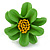 Grass Green/ Yellow Leather Daisy Flower Ring - 35mm D - Adjustable - view 4