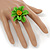 Grass Green/ Yellow Leather Daisy Flower Ring - 35mm D - Adjustable - view 2