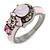 Multicoloured Cluster Crystal with Pink Enamel Ring In Gun Metal Tone