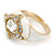 Stunning Clear/ Milky White Crystal White Enamel Ring - size 7 - view 7