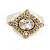Stunning Clear/ Milky White Crystal White Enamel Ring - size 7 - view 6