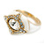 Stunning Clear/ Milky White Crystal White Enamel Ring - size 7 - view 12