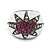 Statement Dome Shape White Enamel with Crystal Star Motif Band Ring In Black Tone - view 3