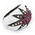 Statement Dome Shape White Enamel with Crystal Star Motif Band Ring In Black Tone - view 4