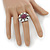Statement Dome Shape White Enamel with Crystal Star Motif Band Ring In Black Tone - view 2