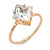 Delicate Clear Princess-Cut Crystal Solitaire Ring In Gold Plating - Size 7