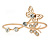 Delicate Gold Plated Crystal Butterfly Double Finger Adjustable Ring
