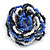 Blue/ White/ Black Glass Bead Flower Stretch Ring - 35mm - view 6