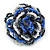 Blue/ White/ Black Glass Bead Flower Stretch Ring - 35mm - view 5