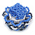 Blue/ White/ Black Glass Bead Flower Stretch Ring - 35mm - view 3