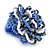 Blue/ White/ Black Glass Bead Flower Stretch Ring - 35mm - view 4