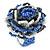 Blue/ White/ Black Glass Bead Flower Stretch Ring - 35mm