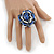 Blue/ White/ Black Glass Bead Flower Stretch Ring - 35mm - view 2