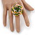 Yellow/ Pink/ Green Glass Bead Flower Stretch Ring - 35mm D - view 2