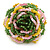 Yellow/ Pink/ Green Glass Bead Flower Stretch Ring - 35mm D - view 4