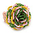 Yellow/ Pink/ Green Glass Bead Flower Stretch Ring - 35mm D - view 5