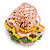 Yellow/ Pink/ Green Glass Bead Flower Stretch Ring - 35mm D - view 3