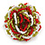 Olive/ Red/ White Glass Bead Flower Stretch Ring - 35mm Diameter - view 4
