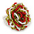 Olive/ Red/ White Glass Bead Flower Stretch Ring - 35mm Diameter - view 5