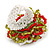 Olive/ Red/ White Glass Bead Flower Stretch Ring - 35mm Diameter - view 3