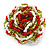 Olive/ Red/ White Glass Bead Flower Stretch Ring - 35mm Diameter - view 6