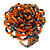 Orange/ Hematite Glass Bead Flower Stretch Ring- 40mm D