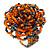Orange/ Hematite Glass Bead Flower Stretch Ring- 40mm D