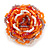 Orange/ White/ Lavender Glass Bead Flower Stretch Ring - 40mm D - view 3